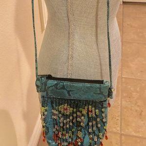 Beaded Crossbody Bag  Blue & Pretty Colored Beads